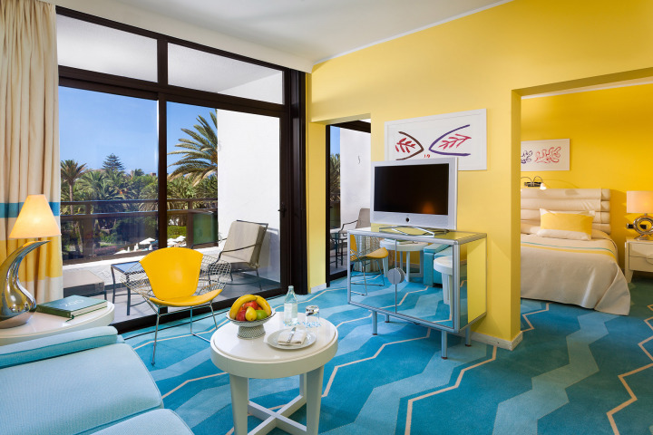 A chic Double room with Seventies-inspired décor at one of the top 5 star hotels on Maspalomas Beach